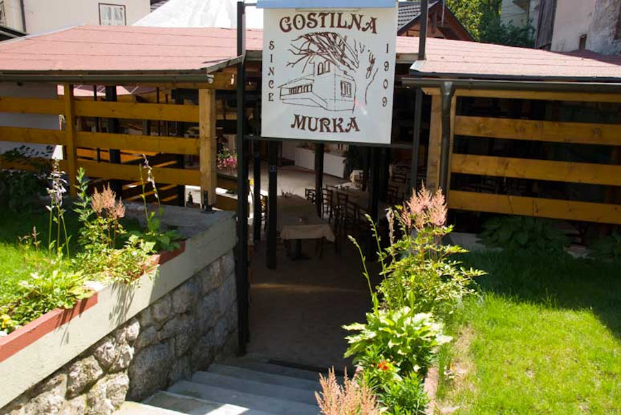 Entrance to the terrace of the Gostilna Murka restaurant in Lake Bled, Slovenia