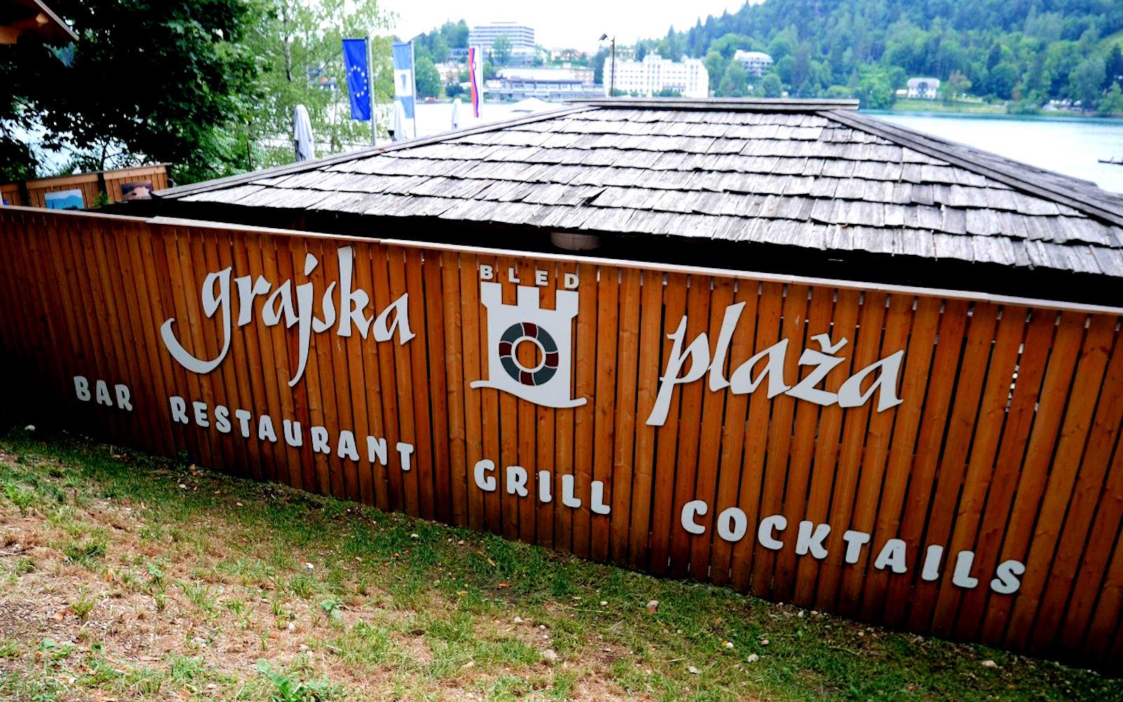 Exterior of the Grajska Plaza Restaurant and Cafe at Lake Bled in Slovenia