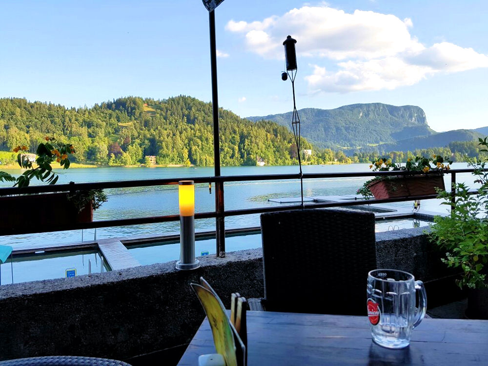 A view of Lake Bled from the Grajska Plaza Restaurant and Cafe in Bled, Slovenia