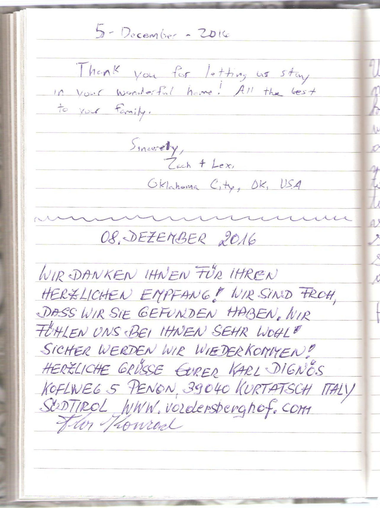 Page 72 from the Guest Book of Fine Stay Apartment