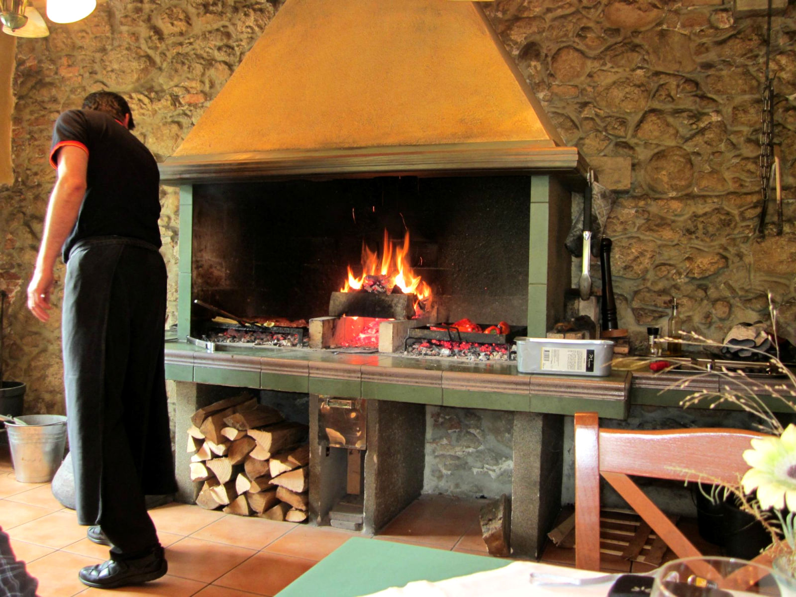 Open fire grill at the Gostilna Union Restaurant and Bar in Lake Bled, Slovenia