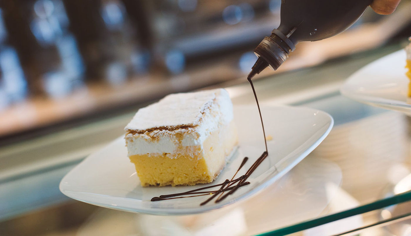 A cream cake at the Vila Preseren Restaurant and Cafe in Lake Bled, Slovenia