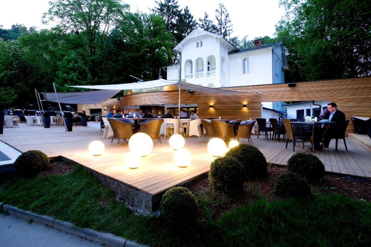 Exterior of the Vila Preseren Restaurant and Cafe in Lake Bled, Slovenia