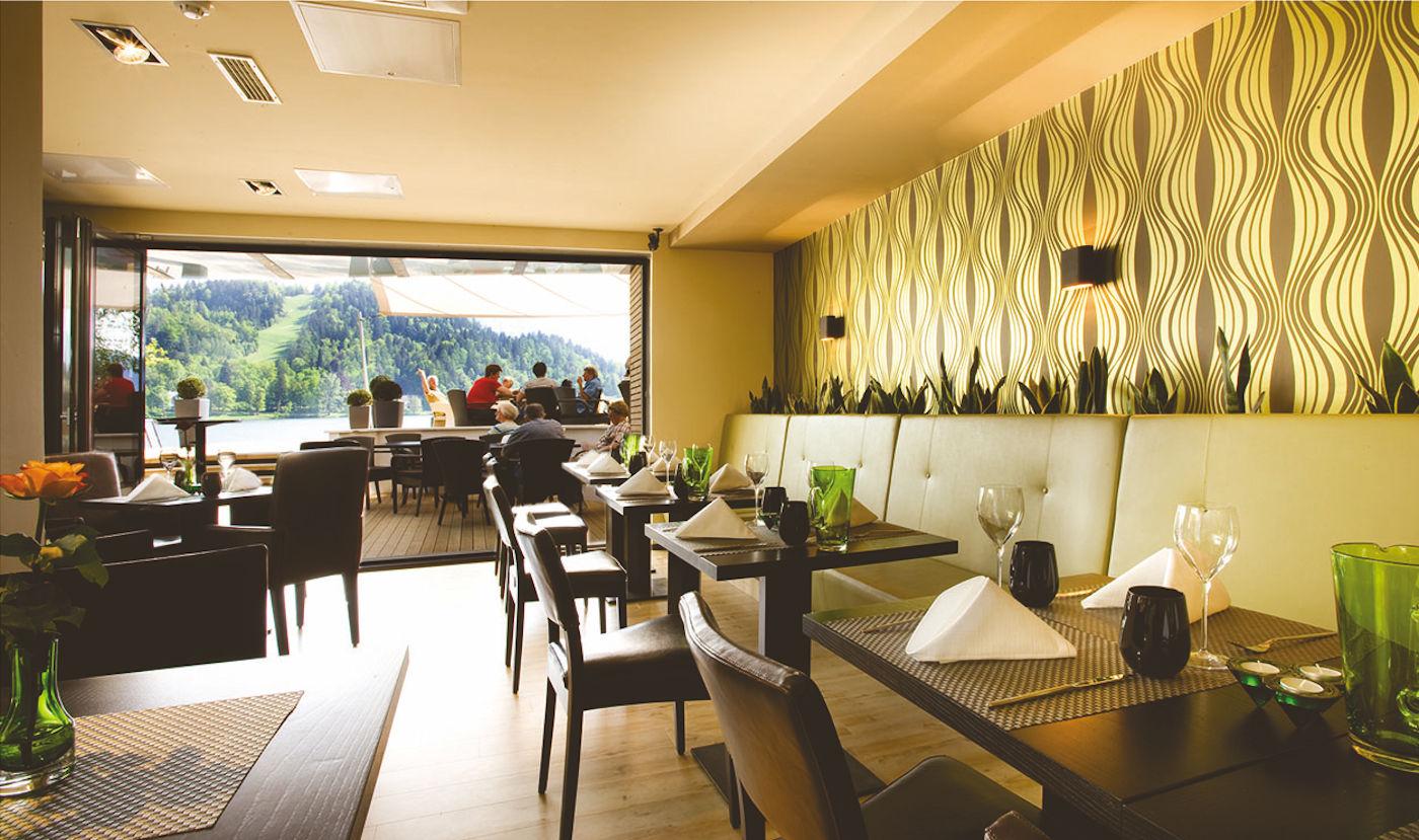Interior of the Vila Preseren Restaurant and Cafe in Lake Bled, Slovenia