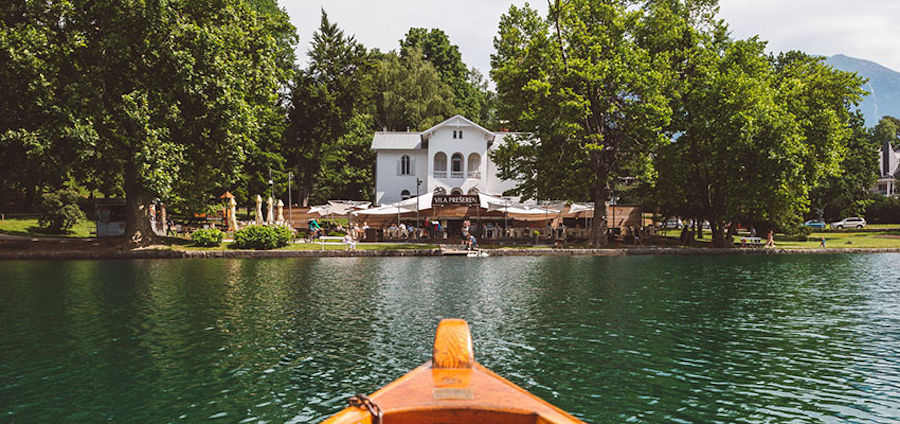 View of the Vila Preseren Restaurant and Cafe from Lake Bled in Slovenia