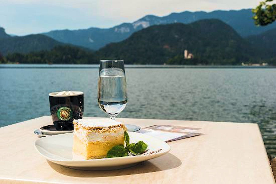 Cream cake with a view at the Vila Preseren Restaurant and Cafe in Bled, Slovenia