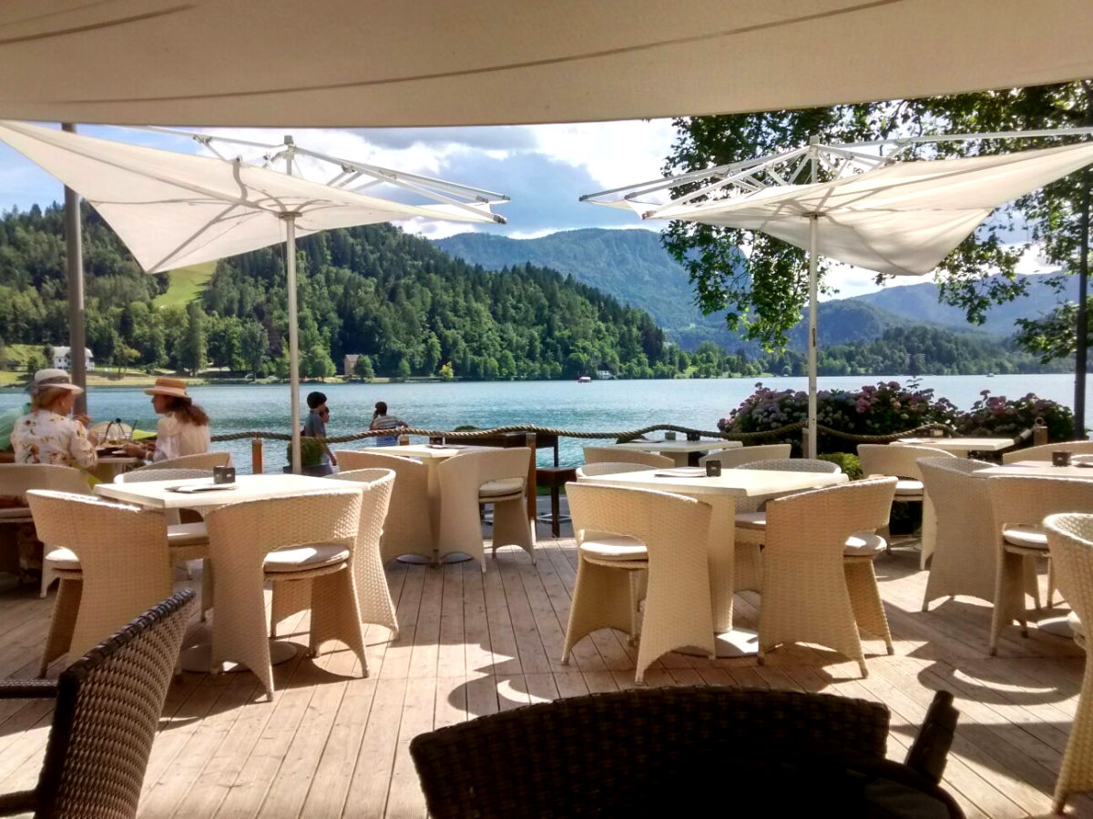 A lake side terrace of the Vila Preseren Restaurant and Cafe in Lake Bled, Slovenia