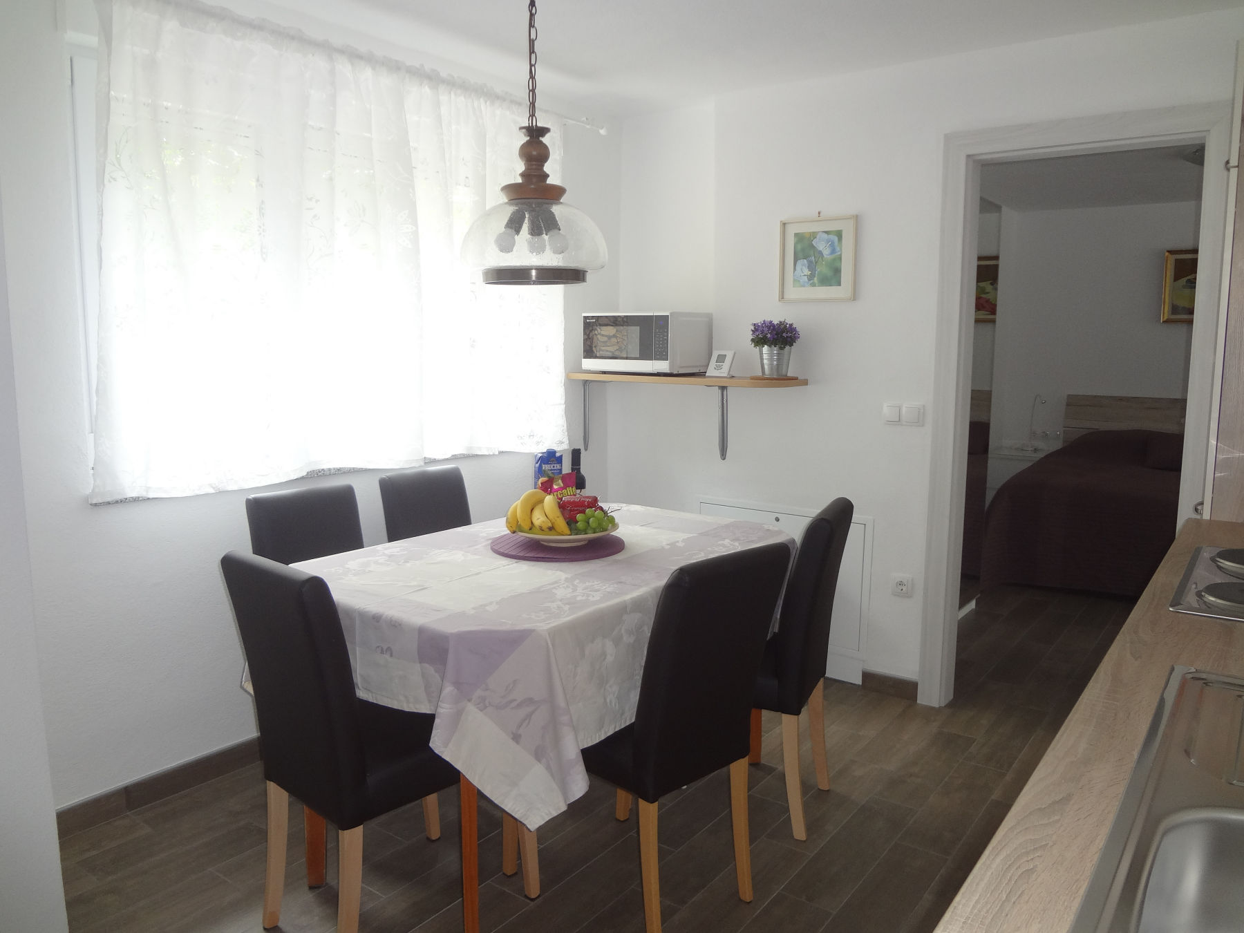 A dinning table in the ground floor apartment, the Bled area of Slovenia