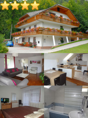Collage of the Superior 2 Bedroom Apartment with 3 Balconies in the Zavrsnica Valley near Lake Bled, Slovenia