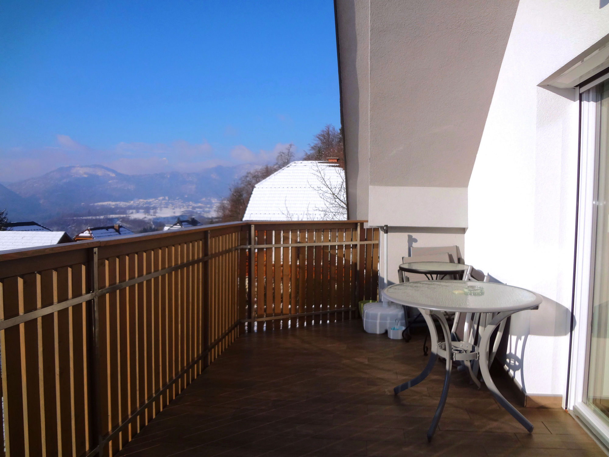 A wintry view towards the Slovenian Alps from the balcony of Apartments Fine Stay in Slovenia