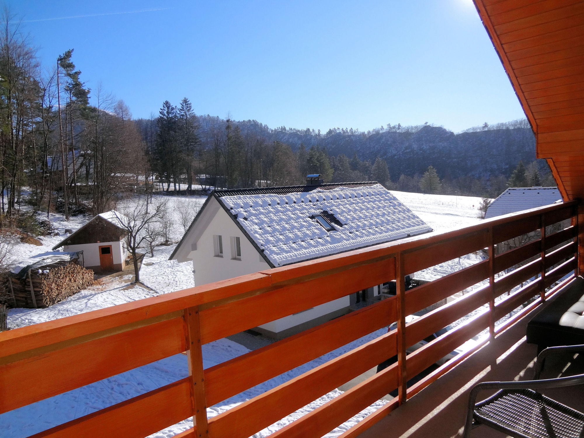 A wintry view from the first balcony of Apartments Fine Stay