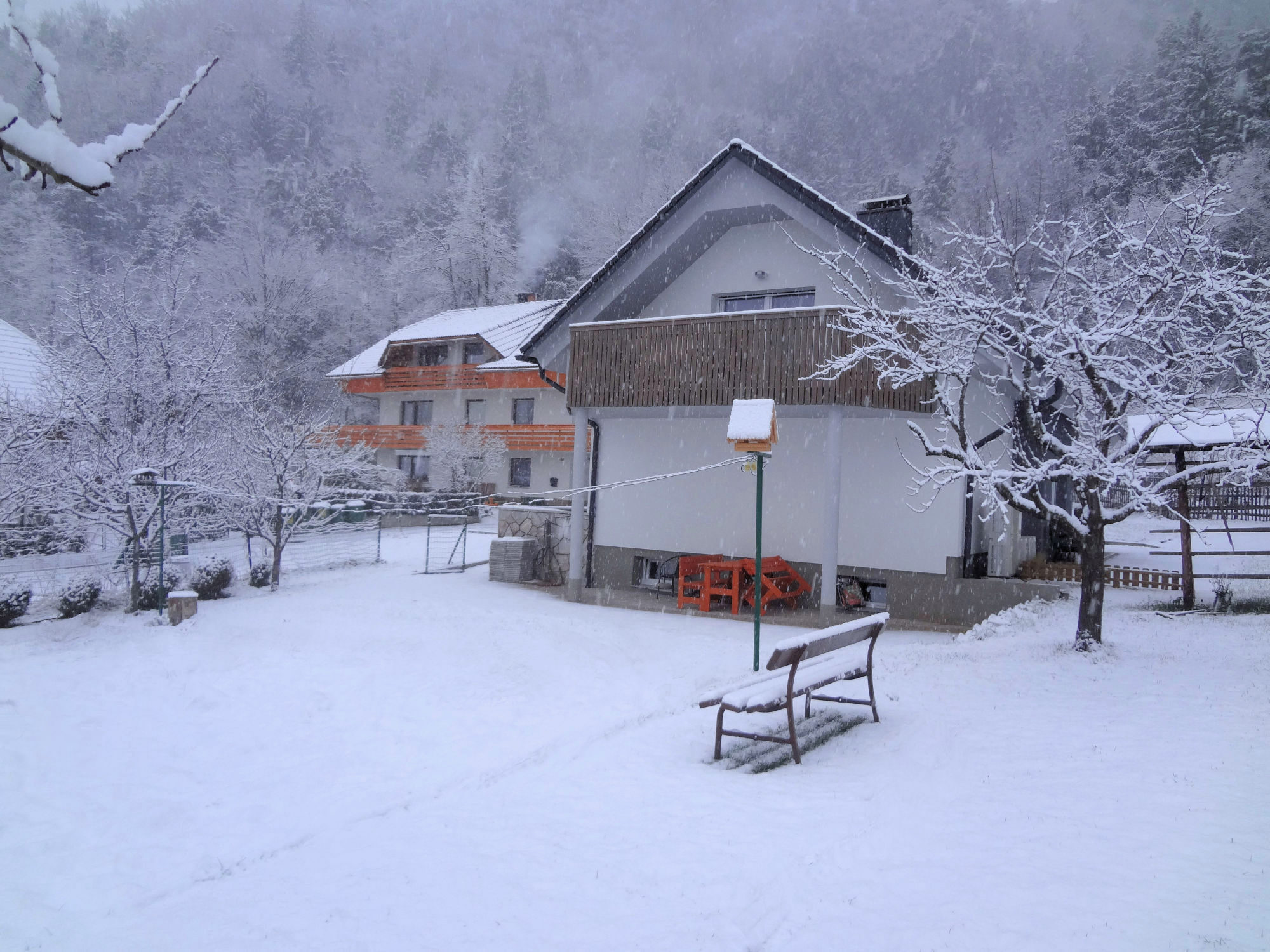 Exterior of Apartments Fine Stay in the Lake Bled area of Slovenia in the winter time during snowing