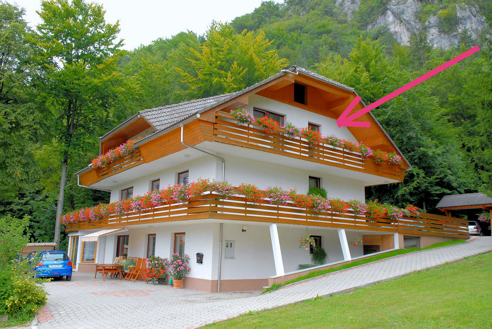 First balcony of Apartments Fine Stay in the Bled area of Slovenia