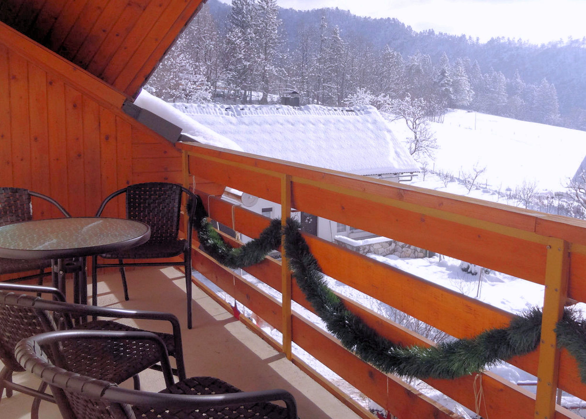 A view in winter from the balcony of Apartments Fine Stay in the Bled area of Slovenia