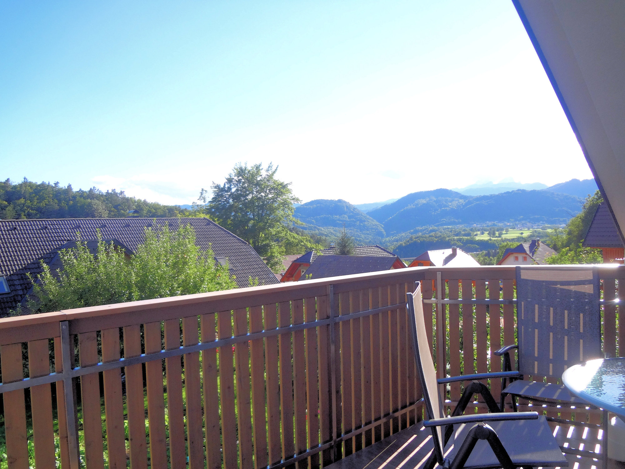 A view of the Slovenian Alps from the balcony of Fine Stay Apartments in Slovenia