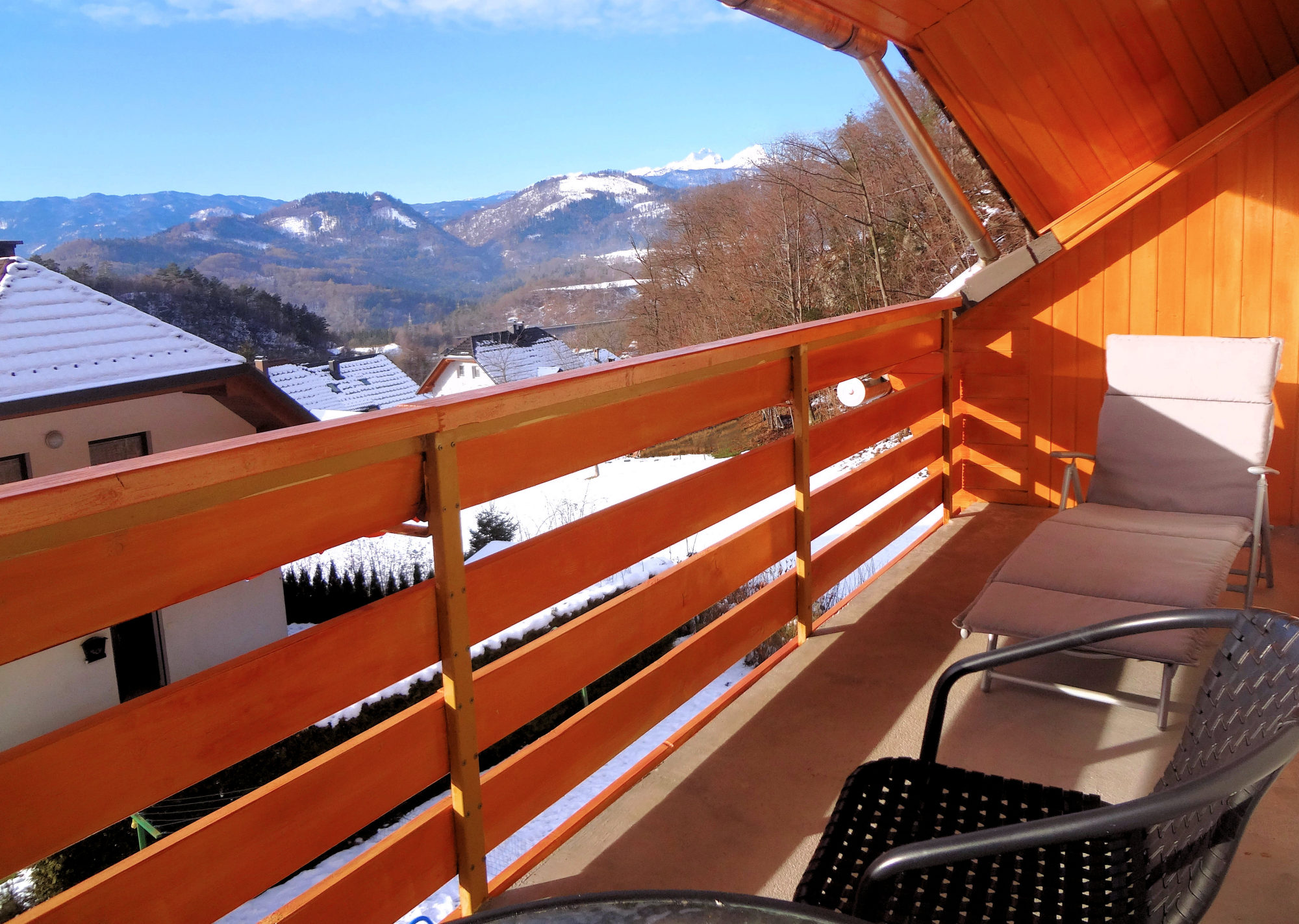 A view of the Slovenian Alps in winter from the balcony of Apartments Fine Stay in Slovenia
