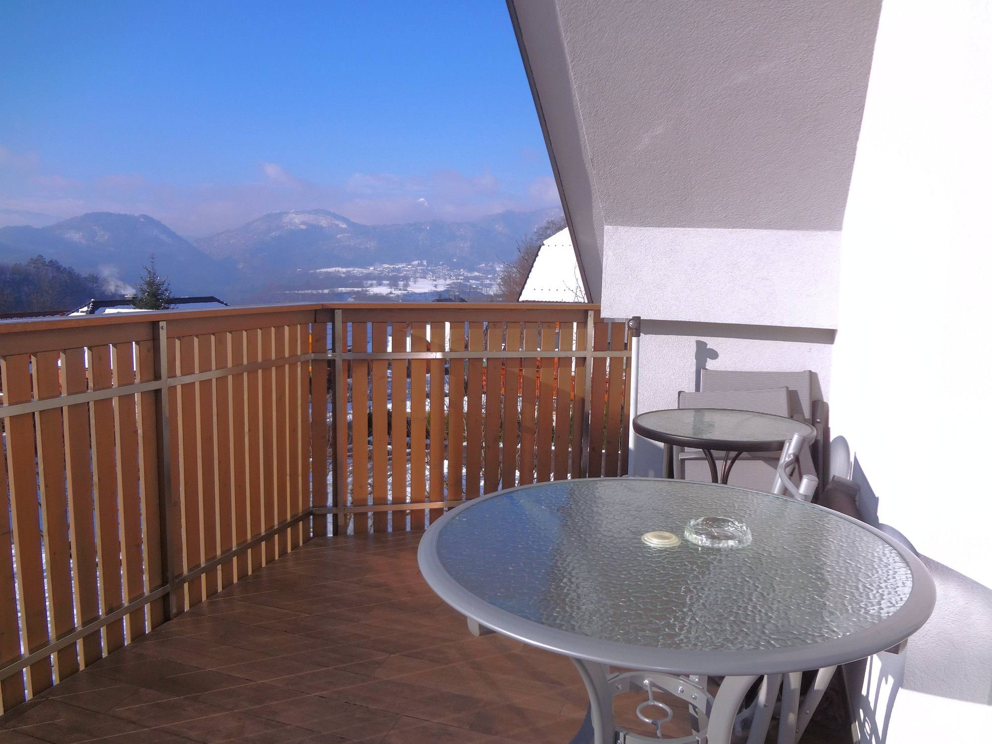 A wintry view of the Slovenian Alps from the balcony of Apartments Fine Stay Apartments in Slovenia