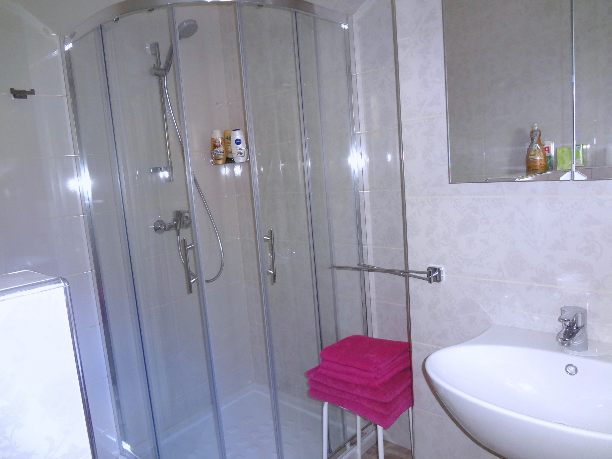 A glass shower stall in the bathroom of Apartments Fine Stay in the Gorenjska region of Slovenia