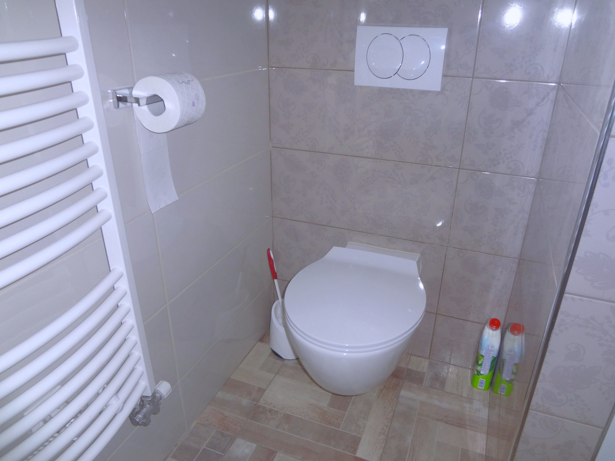 A toilet in in the bathroom of Apartments Fine Stay in the Gorenjska region of Slovenia
