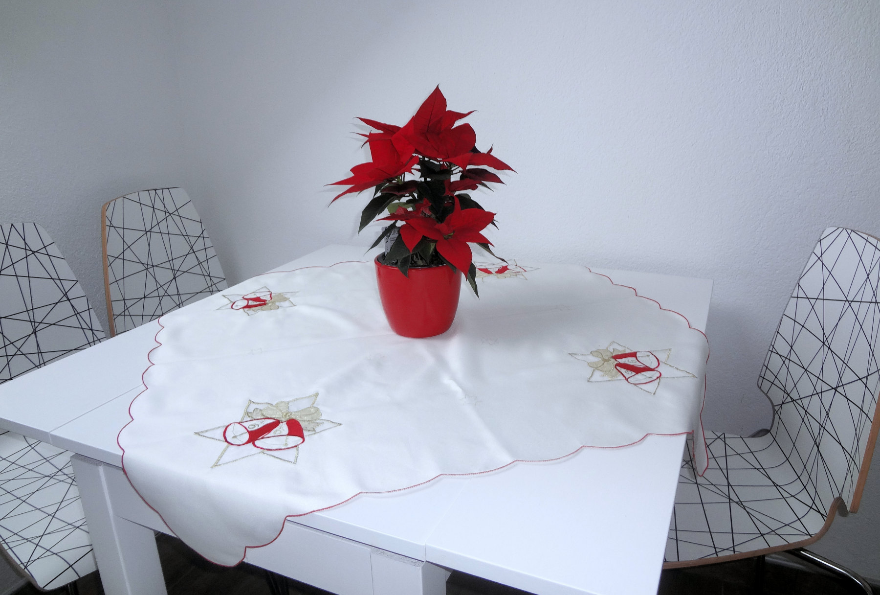 Red poinsettia With its star-shaped leaves and traditional red and green colouring on the dinning table