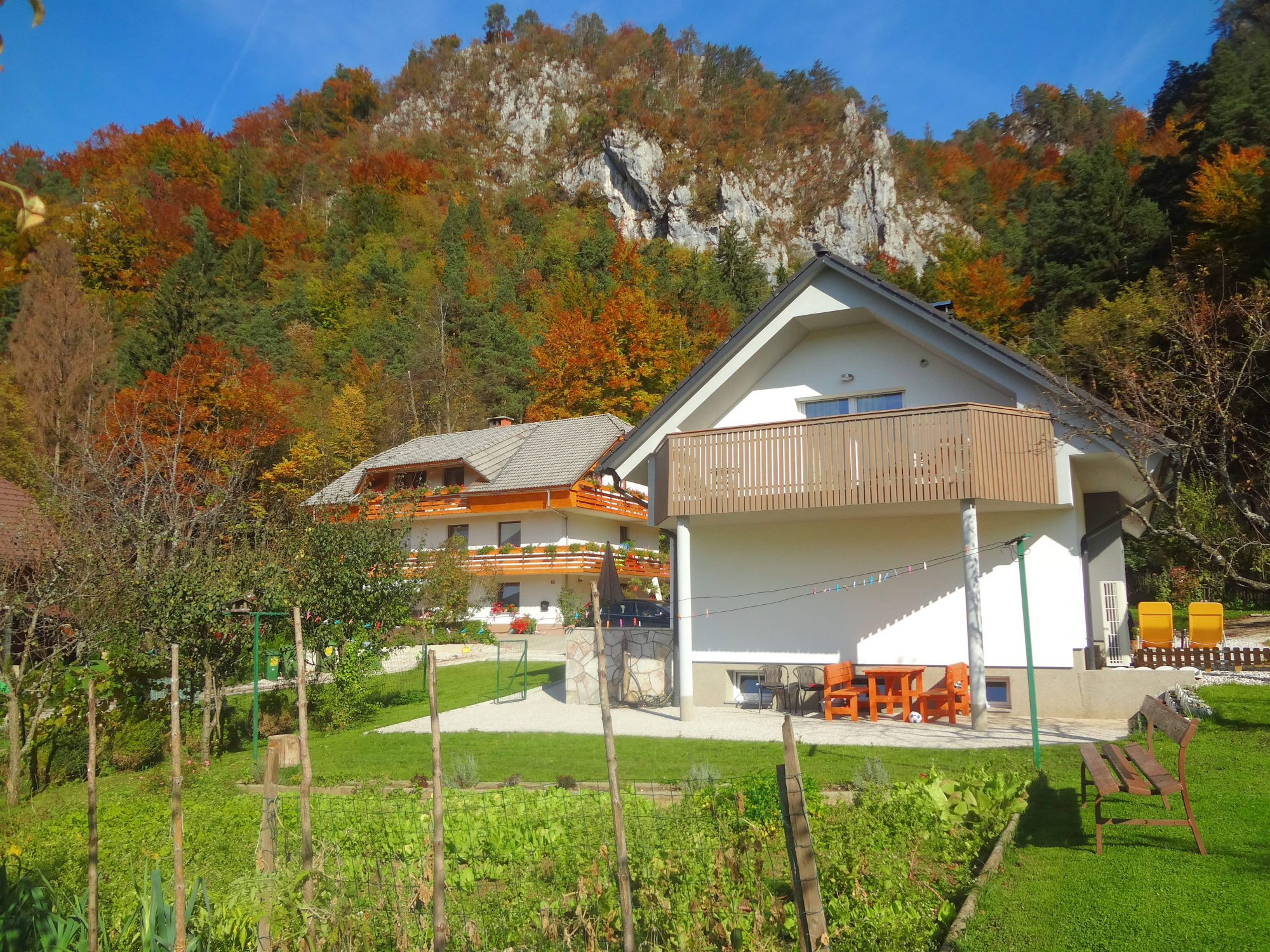 Exterior of Fine Stay Apartments in autumn, the Bled area of Slovenia