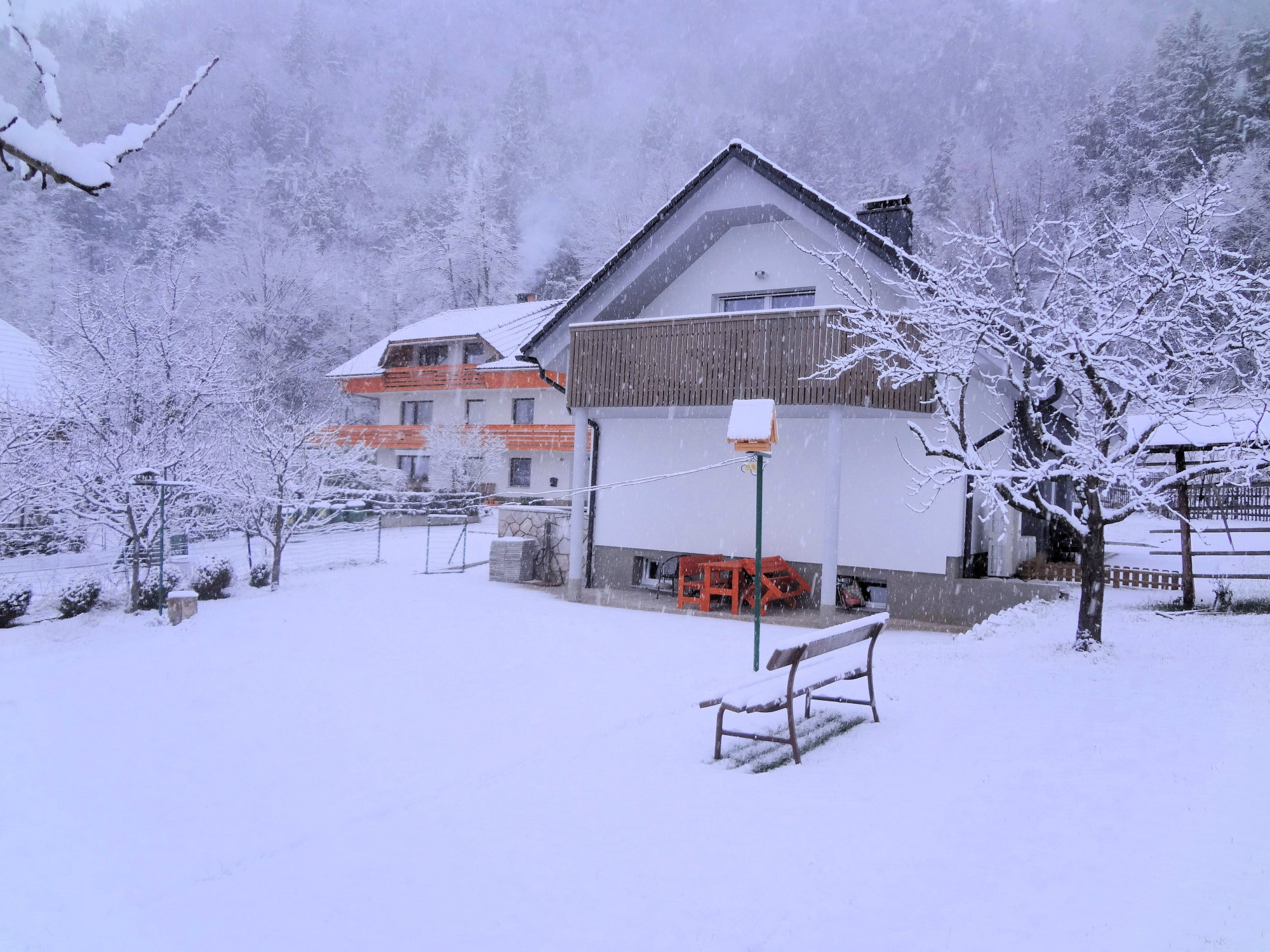 Exterior of modern 2-bedroom apartment with large balcony in Slovenia in winter