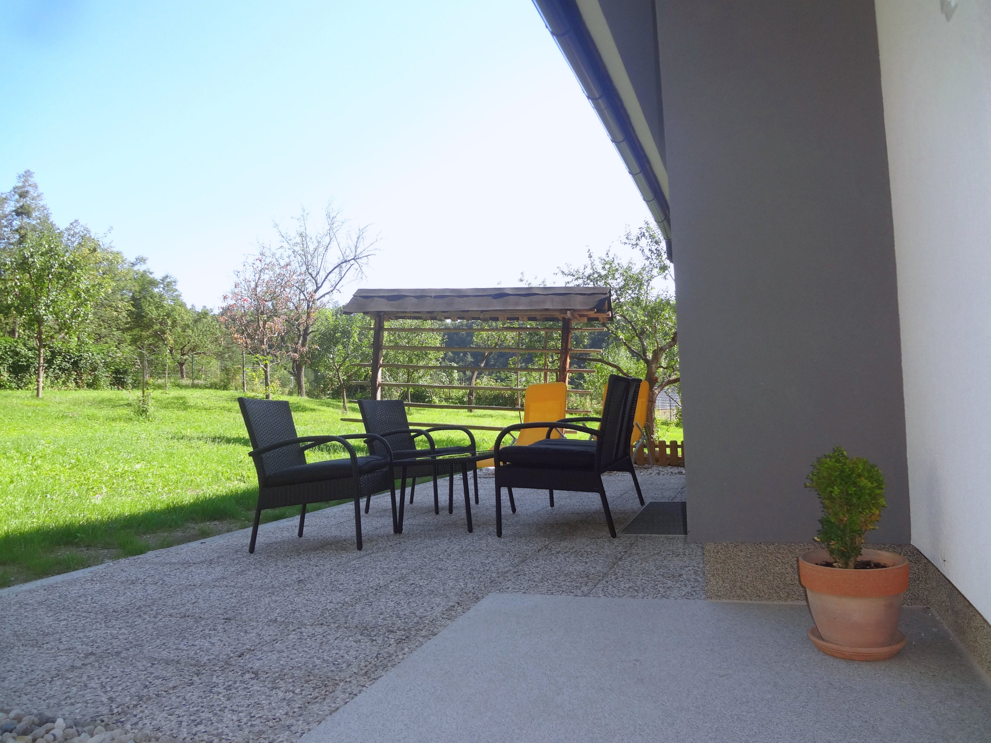 A terrace with garden furniture, Apartments Fine Stay in the Gorenjska region of Slovenia