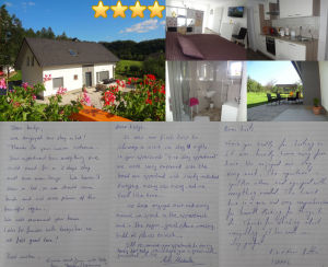 Collage of guestbook entries for Modern Apartment With Balcony and Terrace