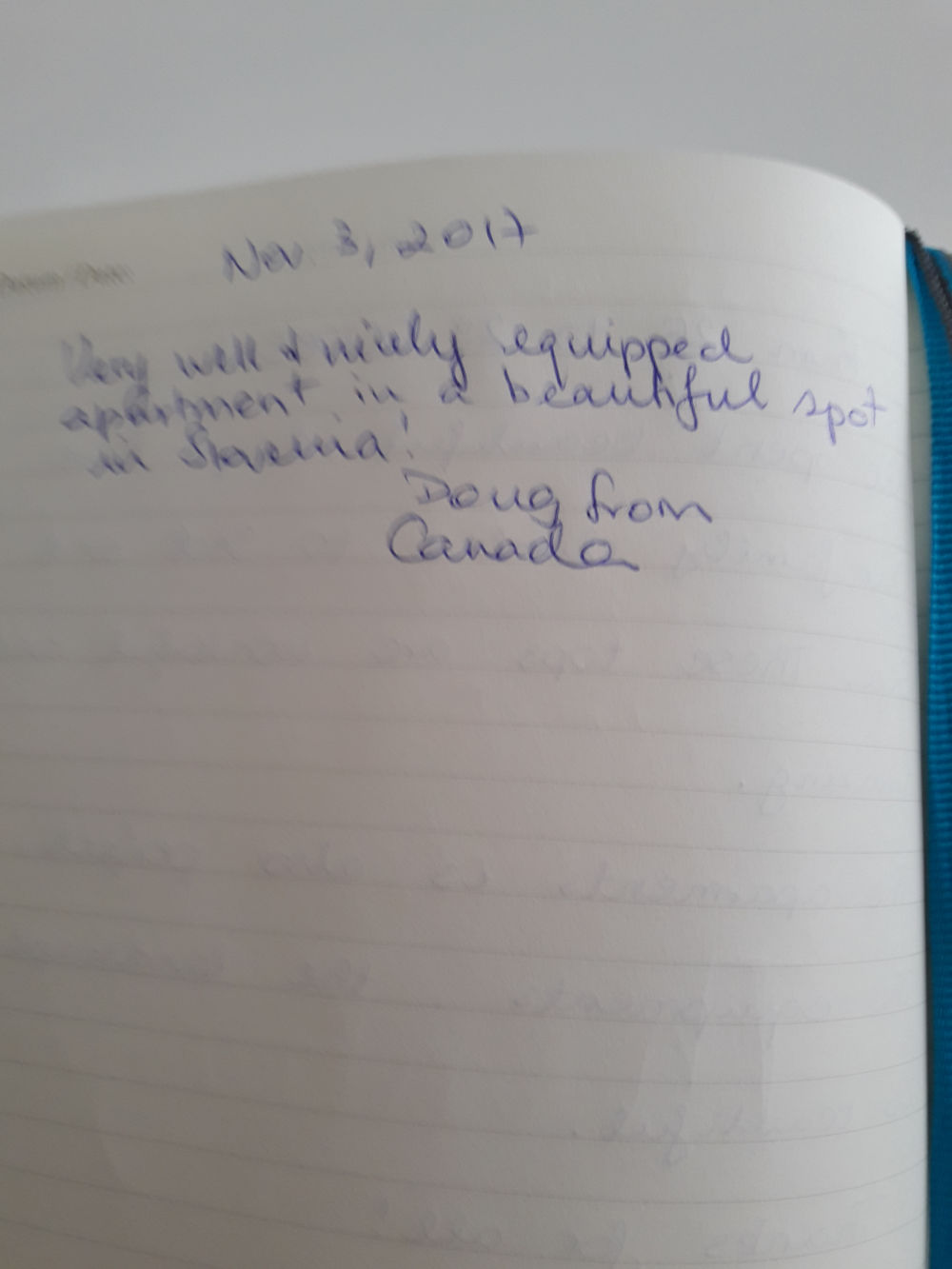 Page 12 of the guestbook we have in the Modern Apartment With Balcony