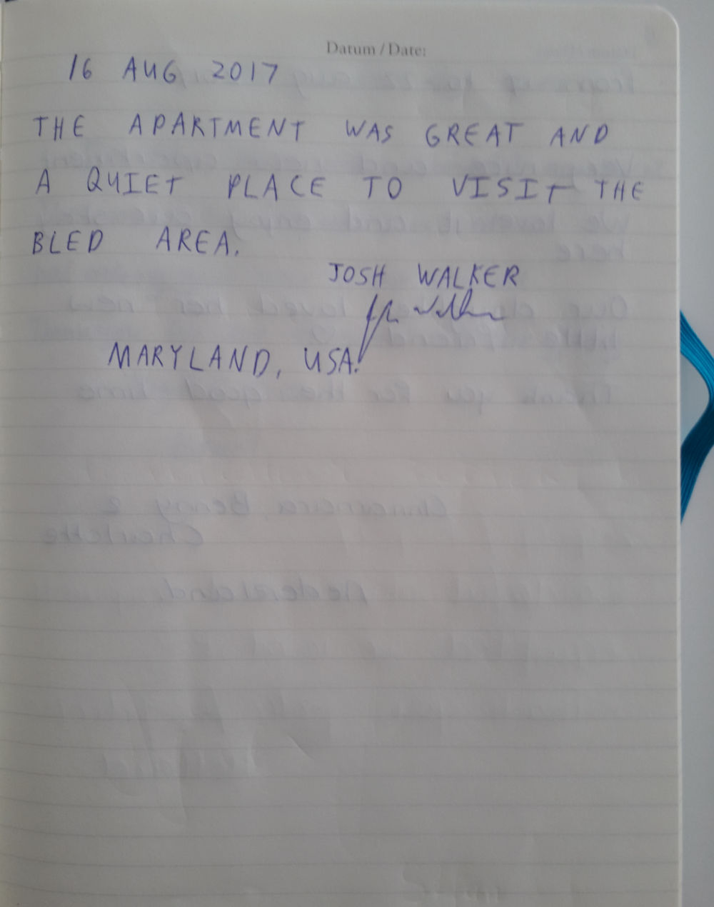 Page 3 of the guestbook we have in the Modern Apartment With Balcony