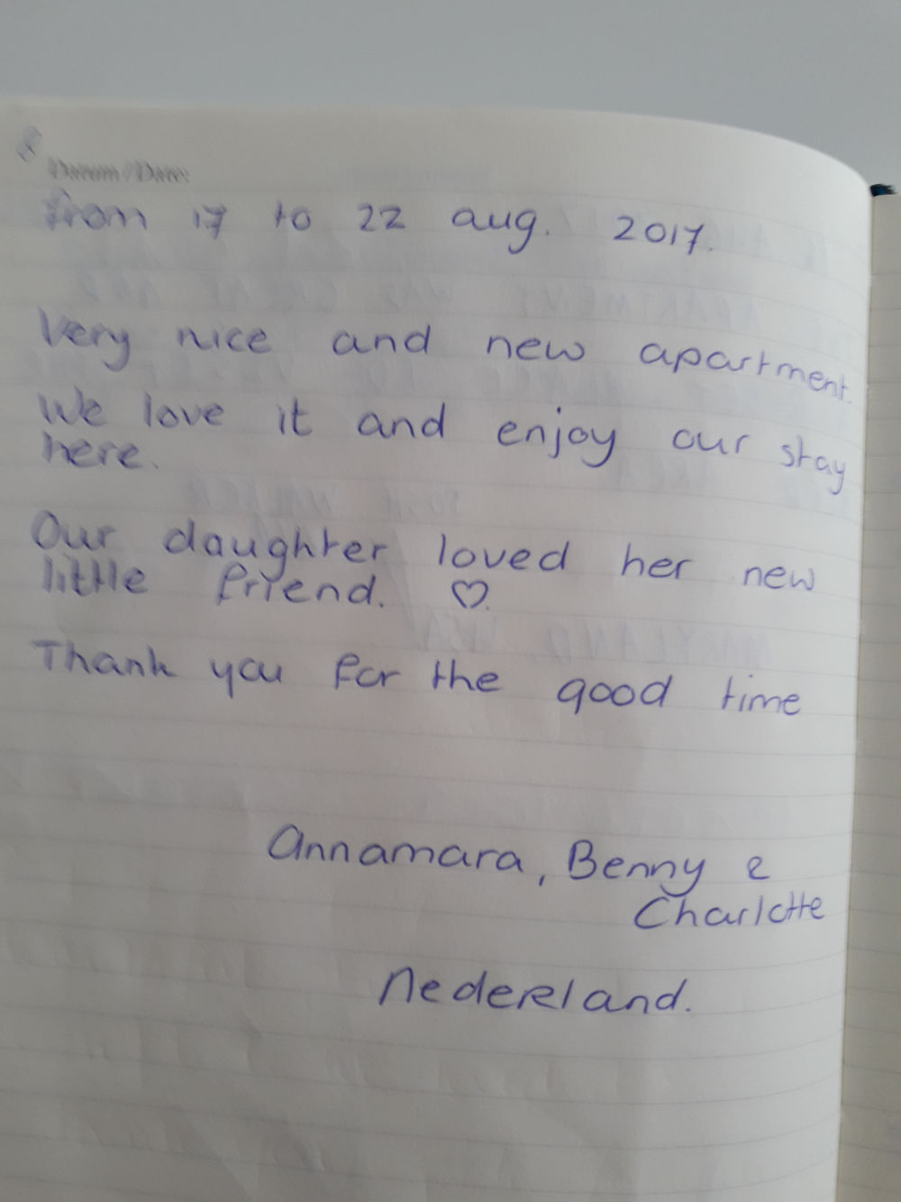 Page 4 of the guestbook we have in the Modern Apartment With Balcony