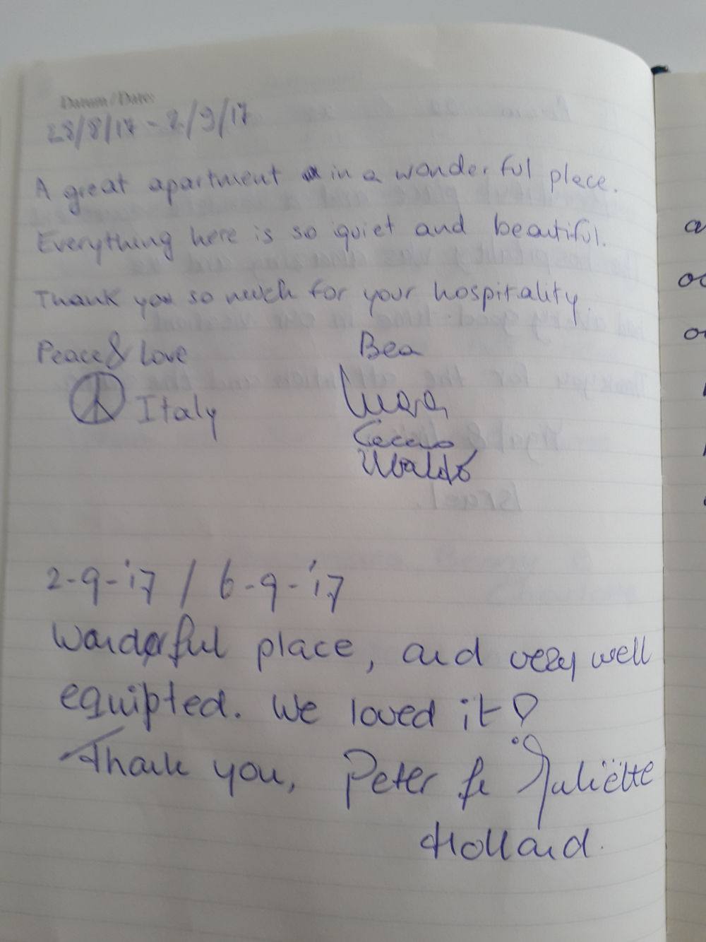 Page 6 of the guestbook we have in the Modern Apartment With Balcony
