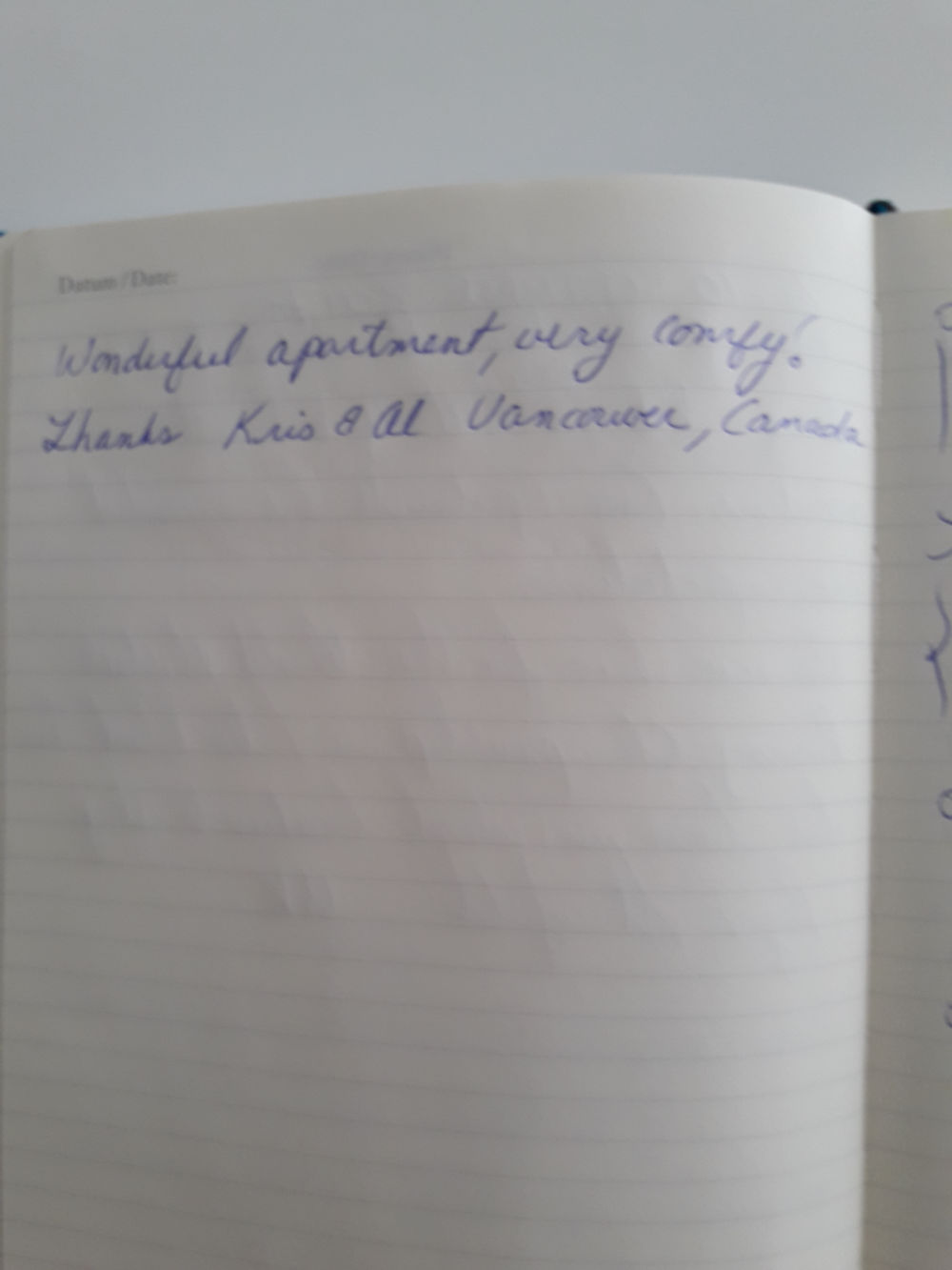 Page 8 of the guestbook we have in the Modern Apartment With Balcony