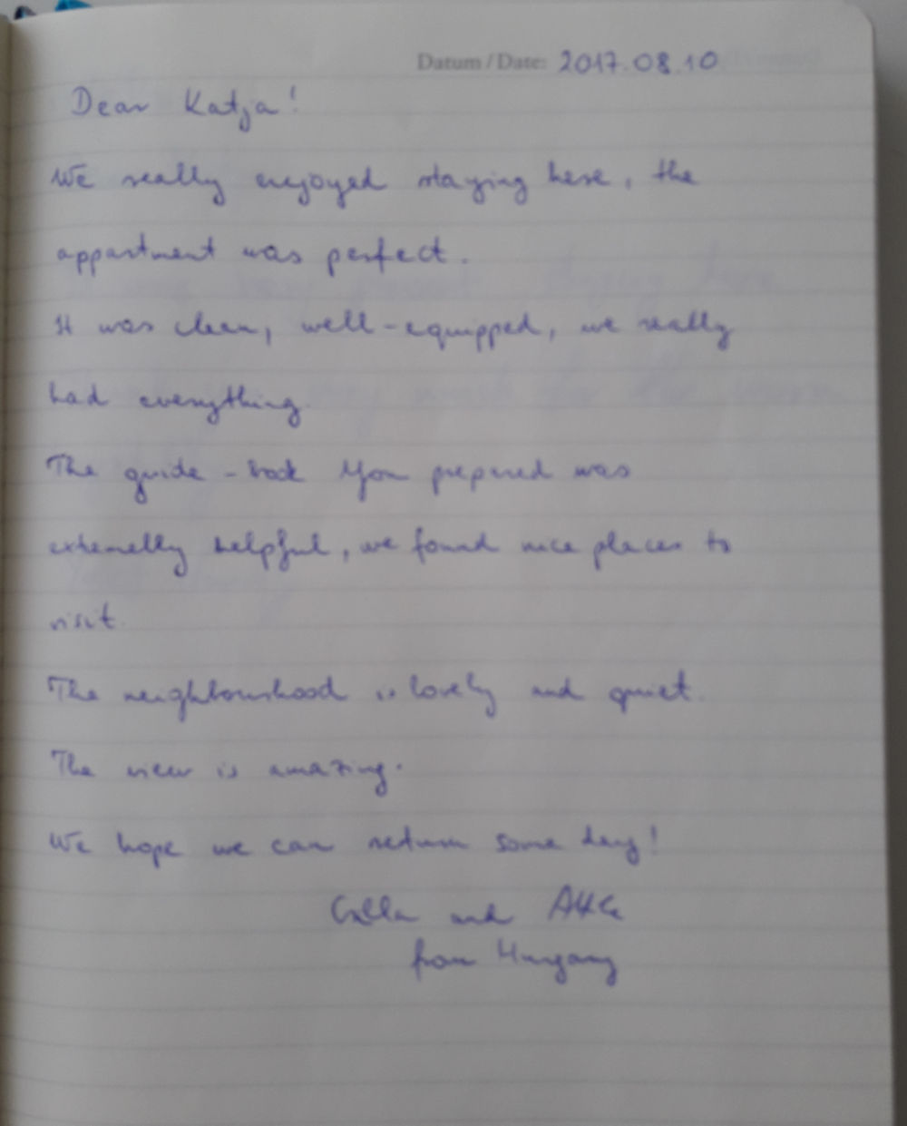 Page 3 of the guestbook we have in the Modern Apartment With Balcony and Terrace