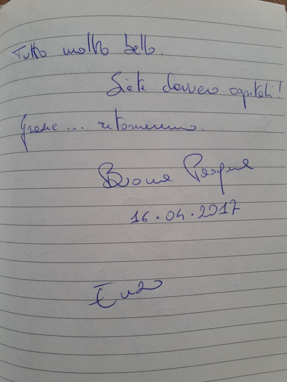 Page 85 of the guestbook we have in the Superior Apartment with 3 Balconies