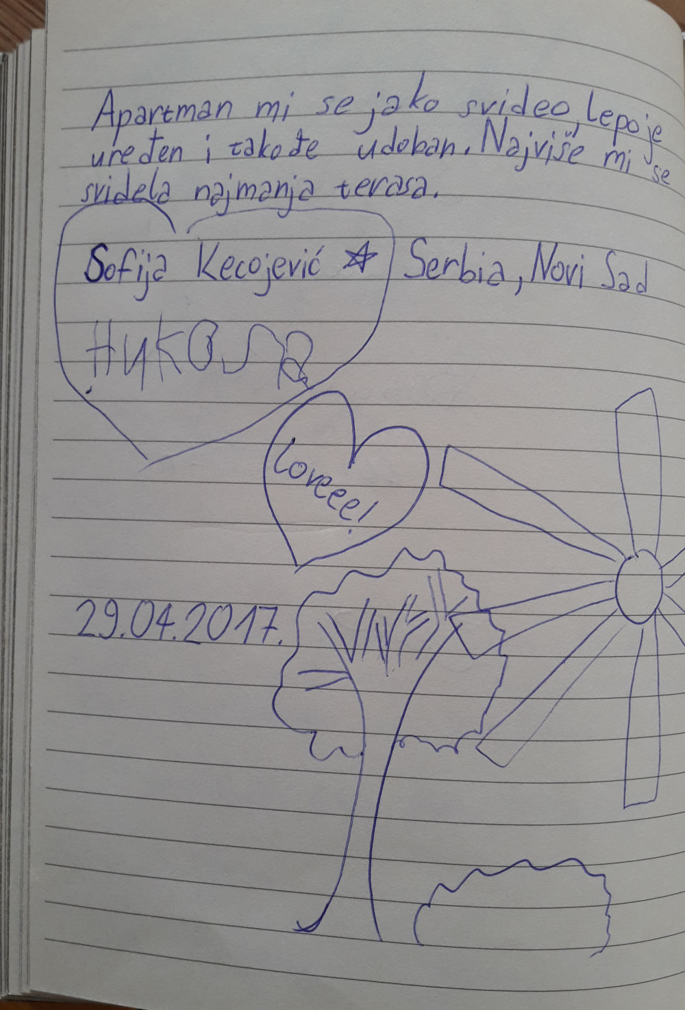 Page 86 of the guestbook we have in the Superior Apartment with 3 Balconies