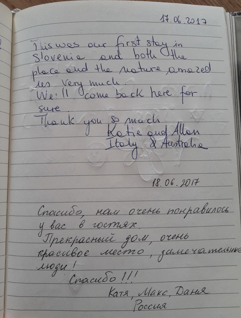 Page 90 of the guestbook we have in the Superior Apartment with 3 Balconies