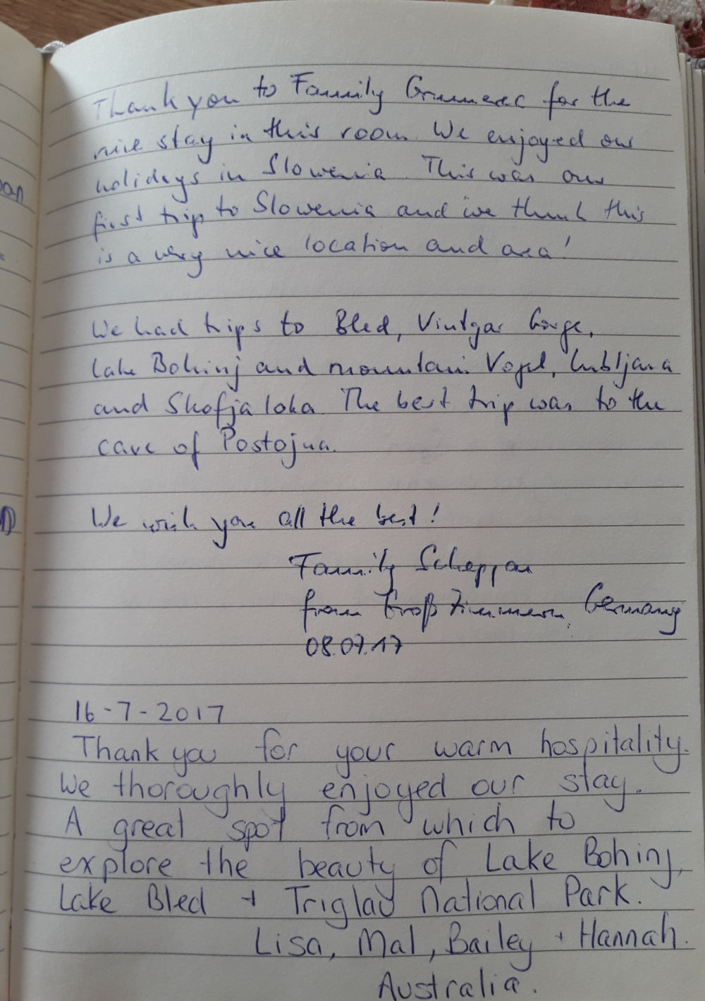 Page 92 of the guestbook we have in the Superior Apartment with 3 Balconies