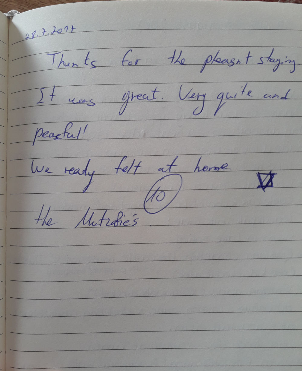 Page 94 of the guestbook we have in the Superior Apartment with 3 Balconies