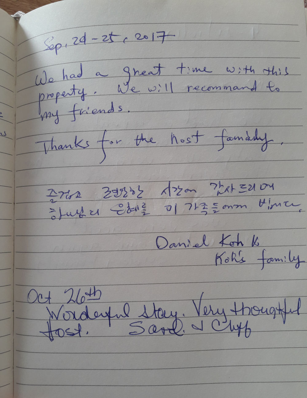 Page 100 of the guestbook we have in the Superior Apartment with 3 Balconies