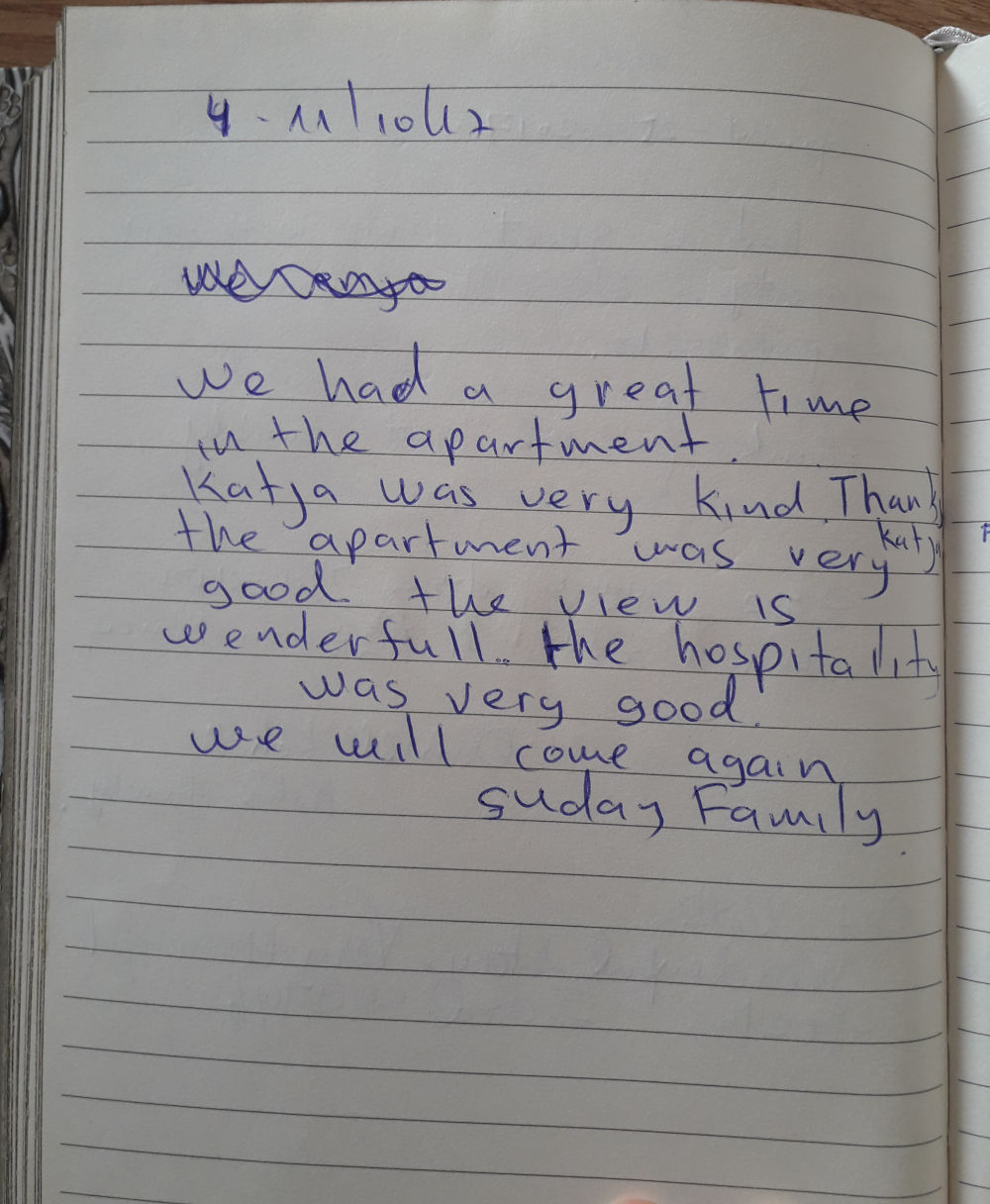 Page 101 of the guestbook we have in the Superior Apartment with 3 Balconies