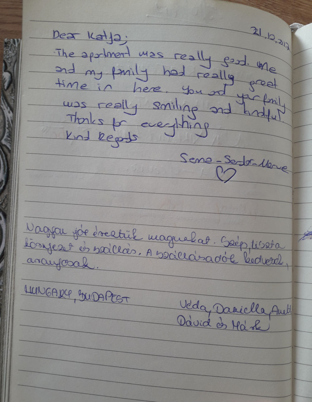 Page 104 of the guestbook we have in the Superior Apartment with 3 Balconies