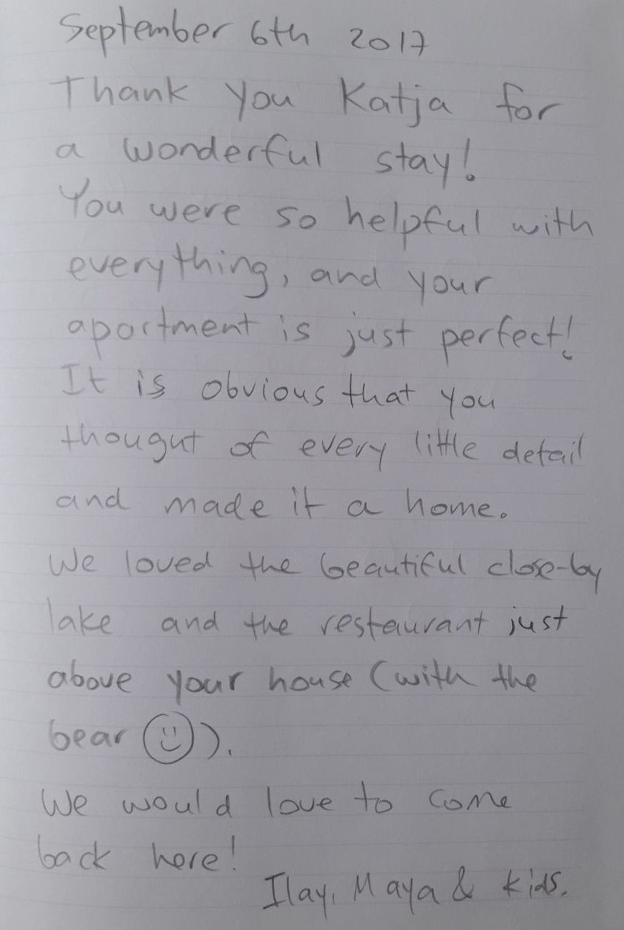 A handwritten note from our guests who stayed in our Modern Apartment With Balcony And Terrace