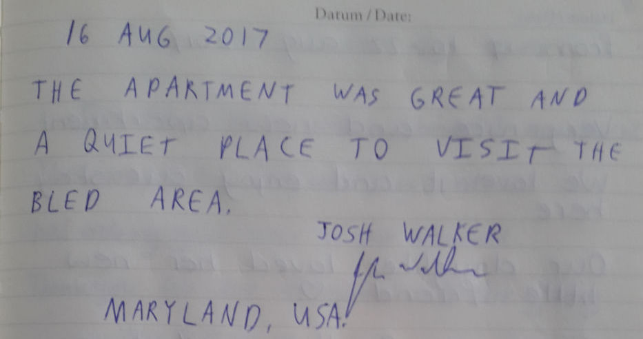 A handwritten note from the guest book of our Modern Apartment With Balcony