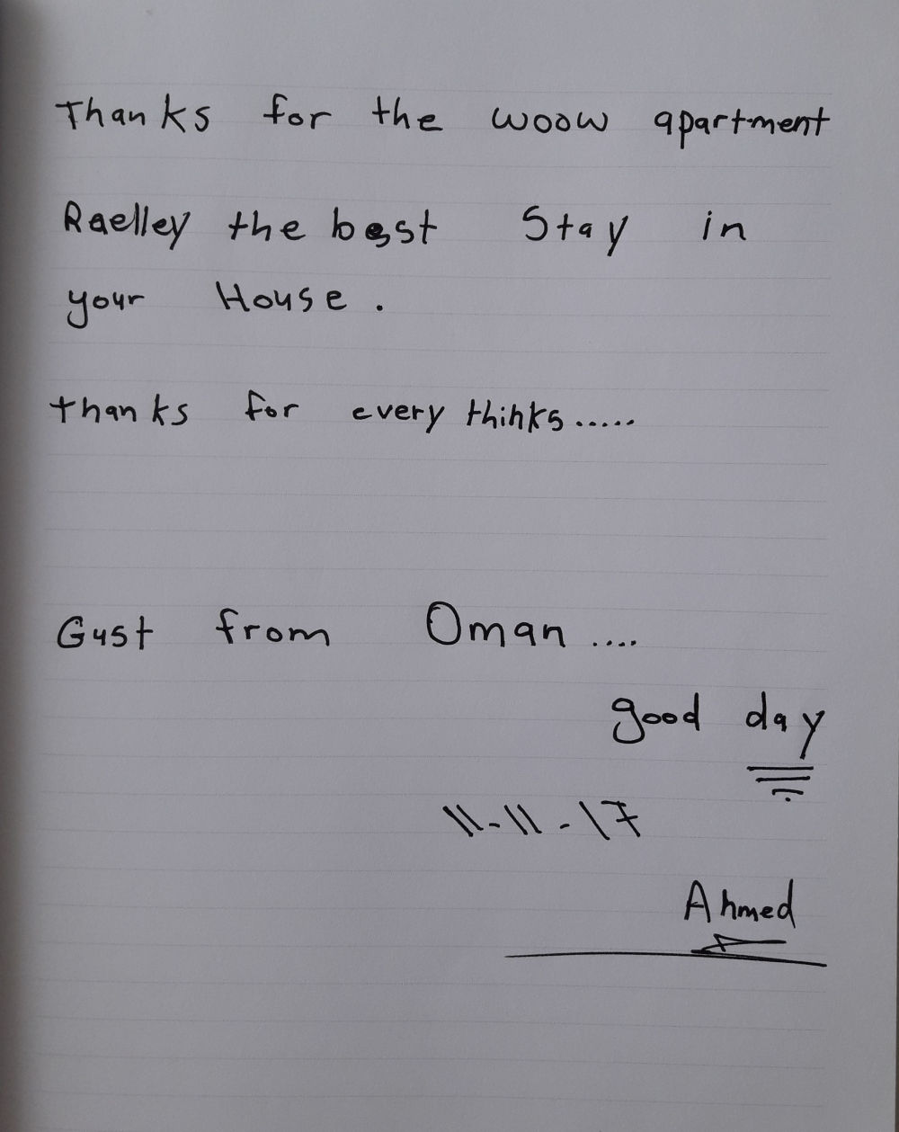 A handwritten note from the guests