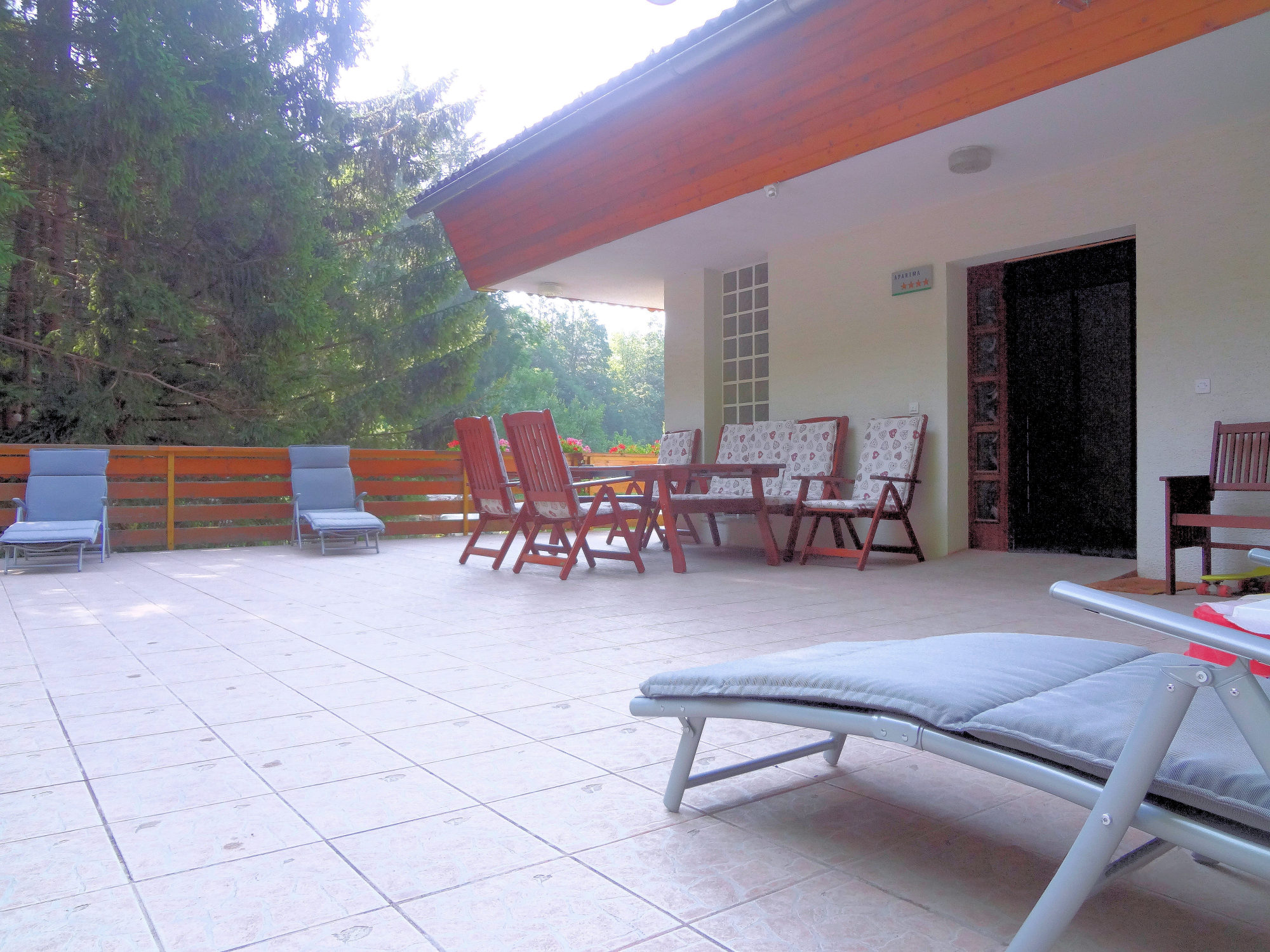 A terrace of Apartments Fine Stay in the Bled area of Slovenia
