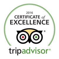 Logo of the Certificate of Excellence award from Tripadvisor for year 2016